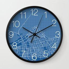 Kuwait City Map - Blueprint Wall Clock