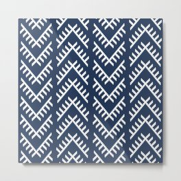 Stitched Arrows in Navy Metal Print