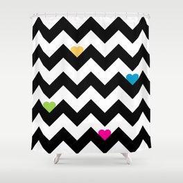 Heart & Chevron - Black/Multi Shower Curtain