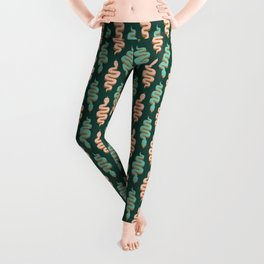 Green and pink snake zigzags Leggings