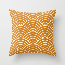 Orange Japanese Seigaiha Wave Throw Pillow