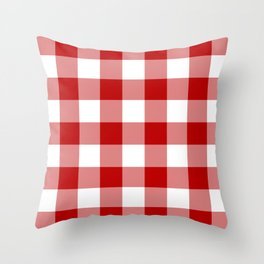 Red and White Buffalo Check Throw Pillow
