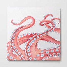 Red Tentacles Octopus Watercolor Ink Metal Print