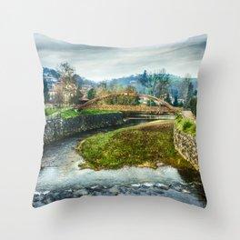 The river Sella and a bridge Throw Pillow