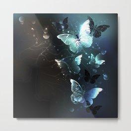 Mint Night Butterflies Metal Print