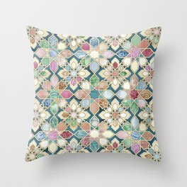 Muted Moroccan Mosaic Tiles Throw Pillow