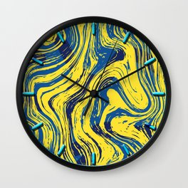 Marbled Yellow and Blue Wall Clock
