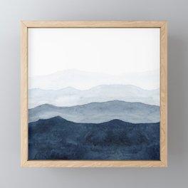 Indigo Abstract Watercolor Mountains Framed Mini Art Print