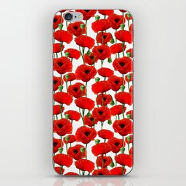 Red Poppy Pattern iPhone Skin