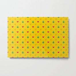 Rasta Marijuana tile pattern. Digital logo pattern. Vector illustration background Metal Print