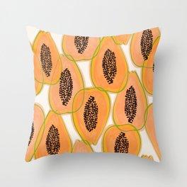 Papaya Cravings #illustration #pattern Throw Pillow