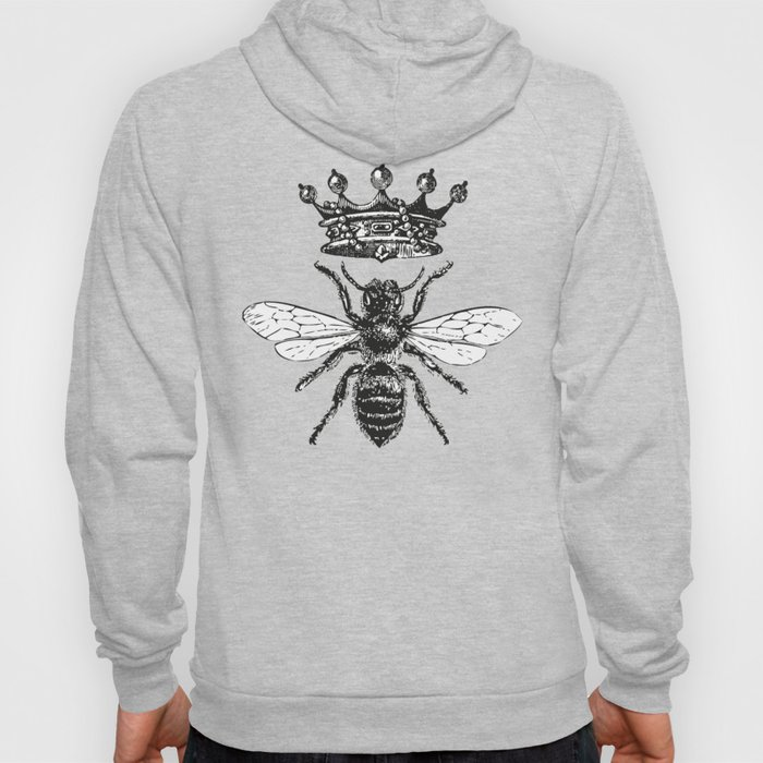Queen Bee | Vintage Bee with Crown | Black and White | Hoodie