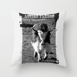 Action Yakson: King of the Yaks Throw Pillow