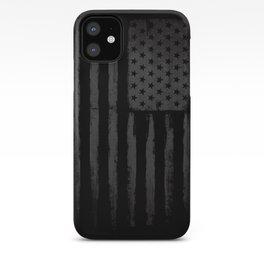 Grey American flag iPhone Case