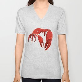 colourful red crab with huge tongs Unisex V-Neck
