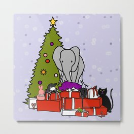 Christmas Scene with Cute Animals Metal Print