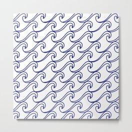 Rough Sea Pattern - blue on white Metal Print