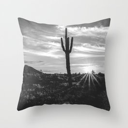 Saguaro Sunrise // Black and White Arizona Desert Landscape Photography Cactus Sun Rays Throw Pillow