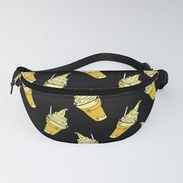 Kawaii Pineapple Floats on Black Fanny Pack