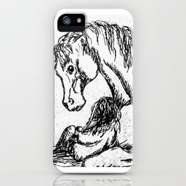 """""""My Horse Will Understand"""" Horse and Girl sketch iPhone Case"""