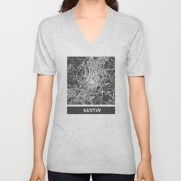 Austin map orange Unisex V-Neck