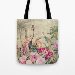 Vintage & Shabby Chic - Tropical Animals And Flower Garden Tote Bag