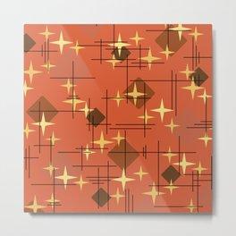 MidCentury Modern Pattern Burnt Orange Metal Print