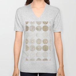 Elegant faux gold abstract circles patterns Unisex V-Neck