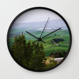 Beautiful spring evening froggy landscape in Tuscany countryside, Italy Wall Clock