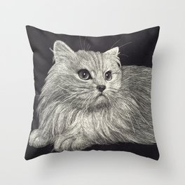 Scratchboard Cat Throw Pillow