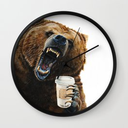 """"""" Grizzly Mornings """" give that bear some coffee Wall Clock"""