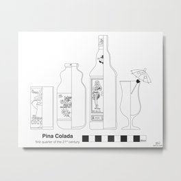 Pina Colada - Archaeological Drawing Metal Print