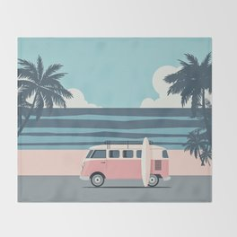 Surfer Graphic Beach Palm-Tree Camper-Van Art Throw Blanket