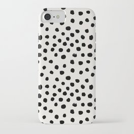 Preppy brushstroke free polka dots black and white spots dots dalmation animal spots design minimal iPhone Case