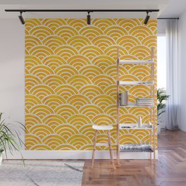 Japanese Seigaiha Wave – Marigold Palette Wall Mural