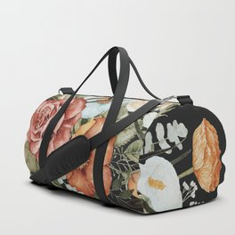 Roses and Poppies Bouquet on Charcoal Black Duffle Bag