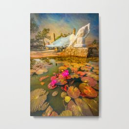 Flowers and Buddha Metal Print