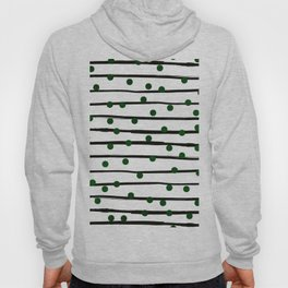 Modern black forest green polka dots stripes Hoody