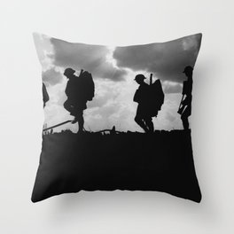 Soldier Silhouettes - Battle of Broodseinde Throw Pillow