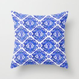 Scrolls and Sapphire Tiles Throw Pillow