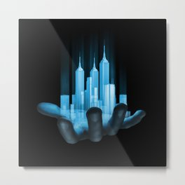 Virtualville / 3D render of miniature holographic city in human hand Metal Print