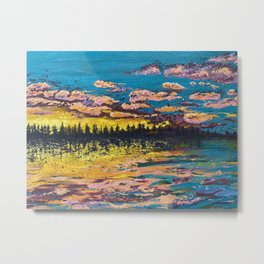 Acrylic painting Sunset Glow of the Ocean Metal Print