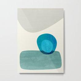 Stacking Pebbles Blue Metal Print
