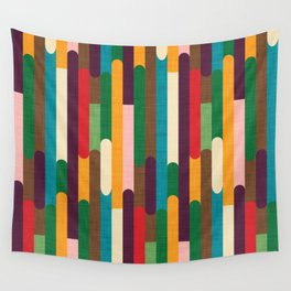 Retro Color Block Popsicle Sticks Wall Tapestry
