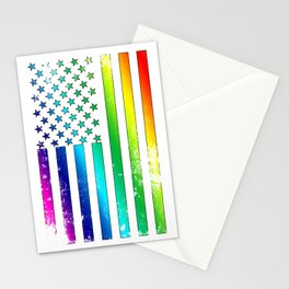 LGBT - Lesbian Gay Bisexual Transgender US Flag Support Homosexual Stationery Cards