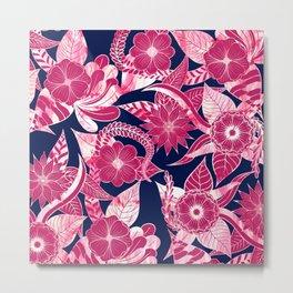 Artsy Modern Fuschia Navy Acrylic Floral Leaves Metal Print