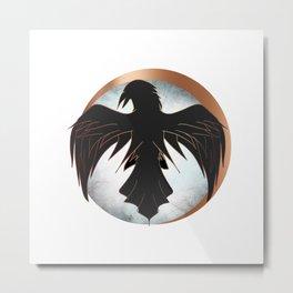 Rose Gold Raven Eclipse Metal Print
