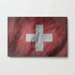 Old Vintage Grunge Switzerland Flag Metal Print