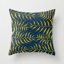 Golden Palm tree blue Throw Pillow