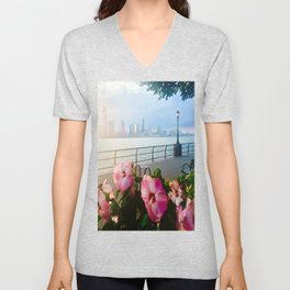 Battery Park New York City Skyline with Pink Hibiscus Flowers Unisex V-Neck